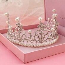 Европейский Дизайн Принцесса Жемчужиной Кристалл PageantTiara Невесты Королева Корона Свадебный Головной Убор Повязка Ювелирных Изделий Волос Торжества