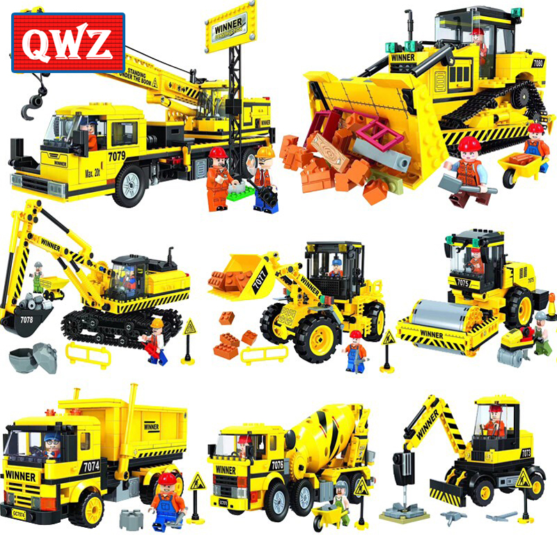 QWZ City Construction Engineering vehicles Model Building Blocks Compatible Legoings City Excavator DIY Bricks Children Boy Toy engineering excavator vehicles bulldozer model building blocks compatible legoed city construction enlighten bricks children toy