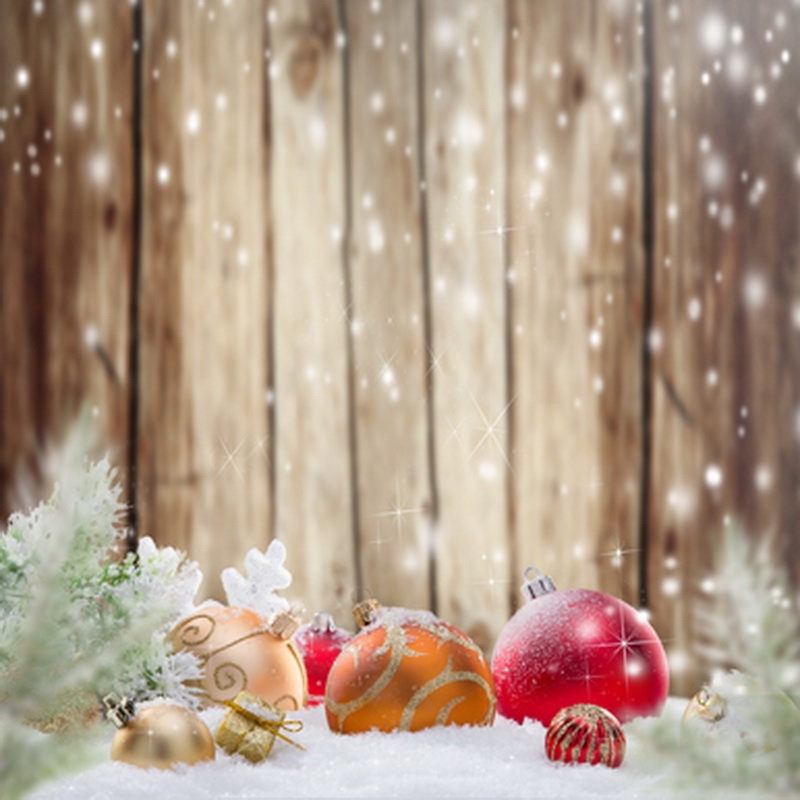 31 Free New Digital Photo Studio Backgrounds: Xmas Ball On Snow Floor Wooden Wall Christmas Backdrops For Photo Studio Holiday Photography