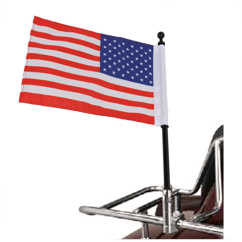 Car Decoration Window American Flag Pole Motorcycle Black Rear Side Mount For Honda Harley Kawasaki Suzuki Yamaha C/5 for harley yamaha kawasaki honda 1 pair universal motorcycle saddle bags pu leather bag side outdoor tool bags storage undefined