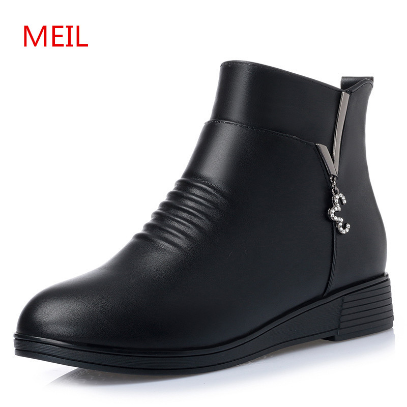 MEIL Genuine Leather winter mother flat shoes keep warm anti-skid snow boots women round toe ankle boots for women ladies shoes jawakye round toe silver chains studded ankle boots women flat heel genuine leather winter shoes motocycle boots for women