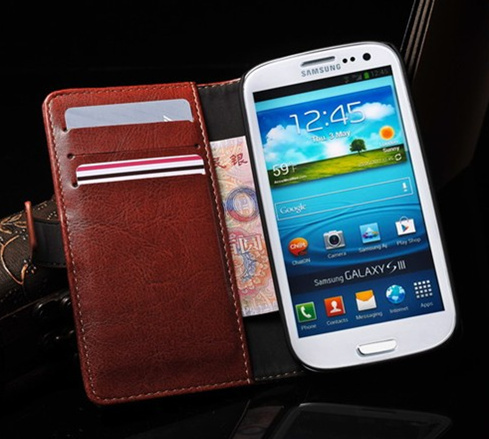 Luxury Leather Case For Samsung Galaxy S3 i9300 Wallet Cover Stand With Card Holder Design High Quality Cell Phone Accessory