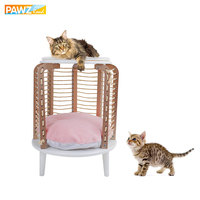 H66cm Pink Cat Toy Climbing Furniture Round Design Stable Solid Wood For Cat Scratching Pet Supplies