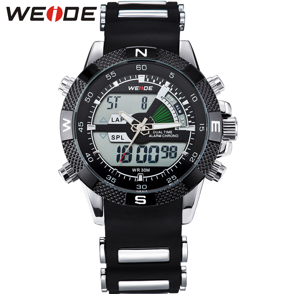 WEIDE Watches Mens Sport Backlight Stopwatch Luxury Famous Military LCD Analog Digital Date Week Alarm Display Relogio Masculino weide men s sport watch white dial analog lcd dual time display date alarm stopwatch stainless steel band quartz digital watches