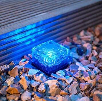 LumiParty Fashion <font><b>LED</b></font> Solar Path Ice Cube Rocks Waterproof Frosted Glass <font><b>Brick</b></font> Paver Garden In-groud Buried Light Path Road