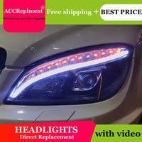 car styling For BENZ W204 headlights angel eyes 2007 2010 For BENZ W204 LED light bar Q5 bi xenon lens h7 xenon day light