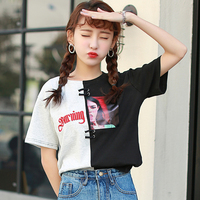 T Shirt Women Summer 2017 Japanese Harajuku Letters Embroidery Beauty Printing Patchwork Short Sleeve Funny T