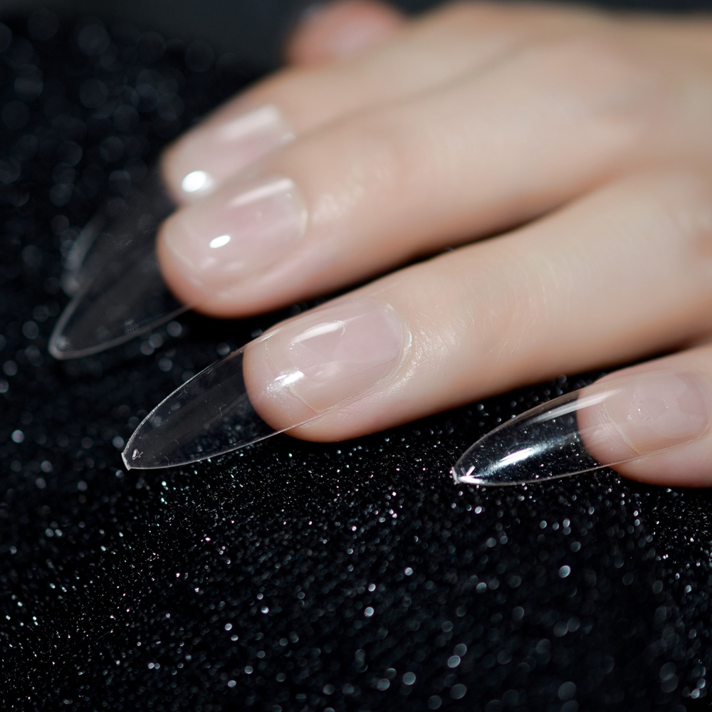 Long Stiletto Nail Art: Clear Extra Long Manicure Salon Nails Full Cover
