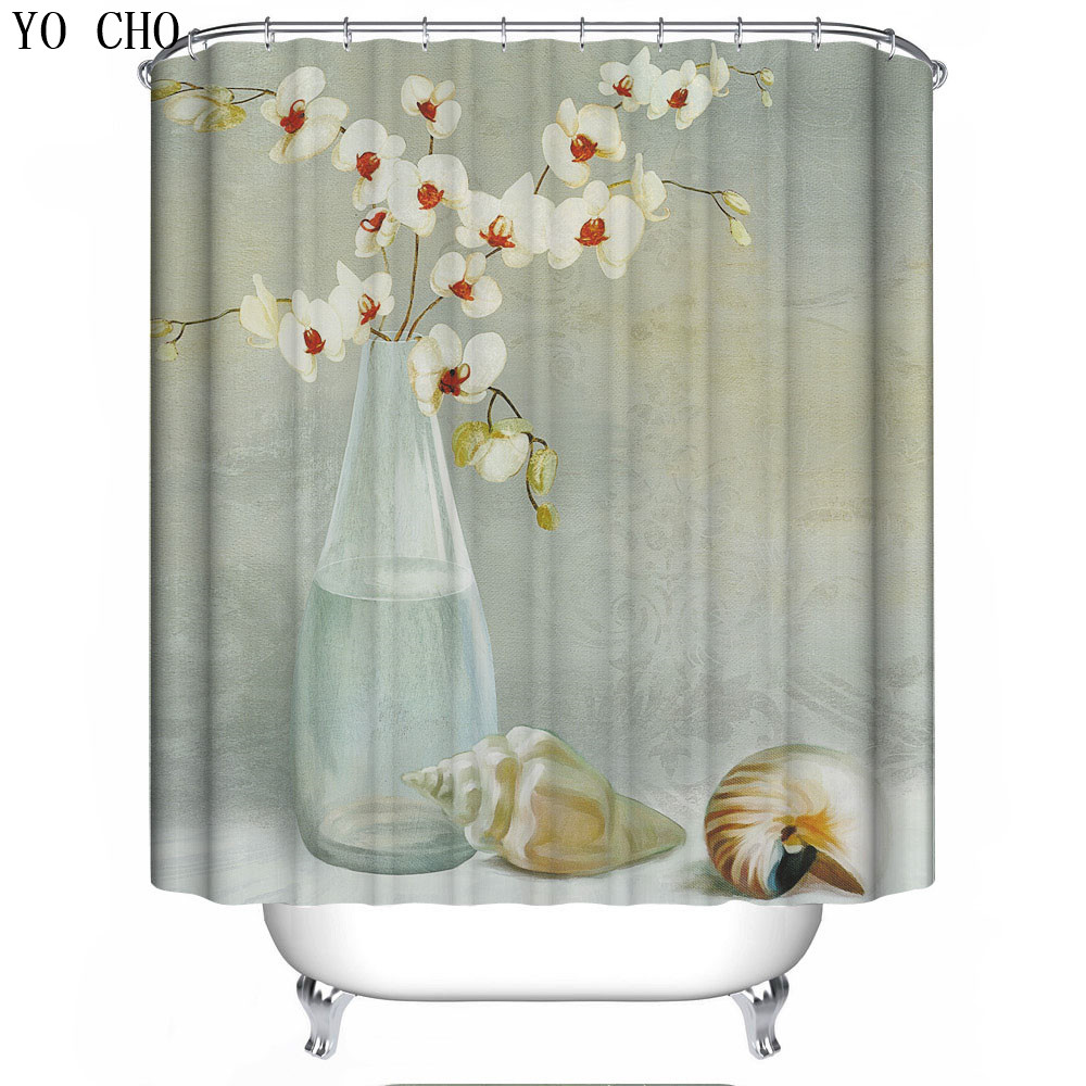 Washable flower 3d chrismas bath curtain for the bathroom for Shower curtain savers