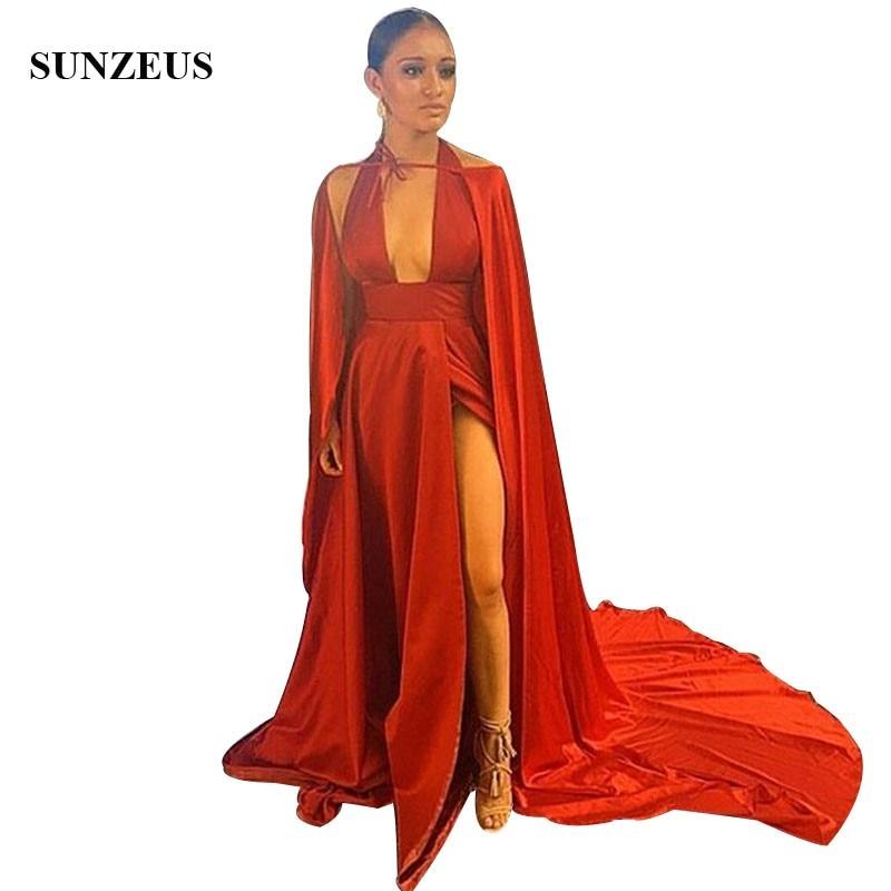 Robe De bal a-ligne col licou Sexy robes De soirée rouge avec longue Cape côté Split robes De dame robe Longo De Festa