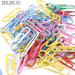 100pcs / 28mm Colorful Paper Clips And Pins Vinyl Paint New Ticket Holder Stationery DIY Office School Supplies