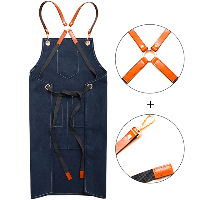 2019 Canvas Bibs Aprons for Women Leather BBQ Chef Home Kitchen Dress Barber Hairdres Cafe Cook Waiter Custom logo Pinafore Gift 1
