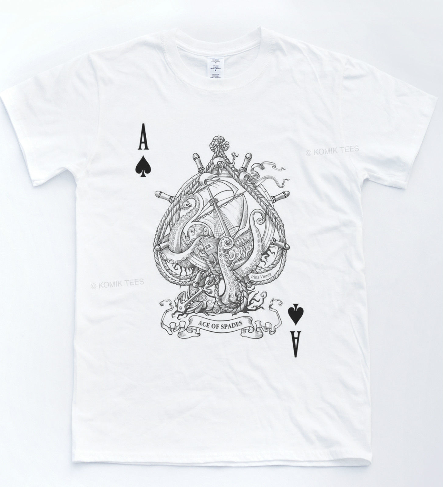 ACE OF SPADES Nautical T-shirt Print Indie Retro Hipster Tee Sea Cards Top