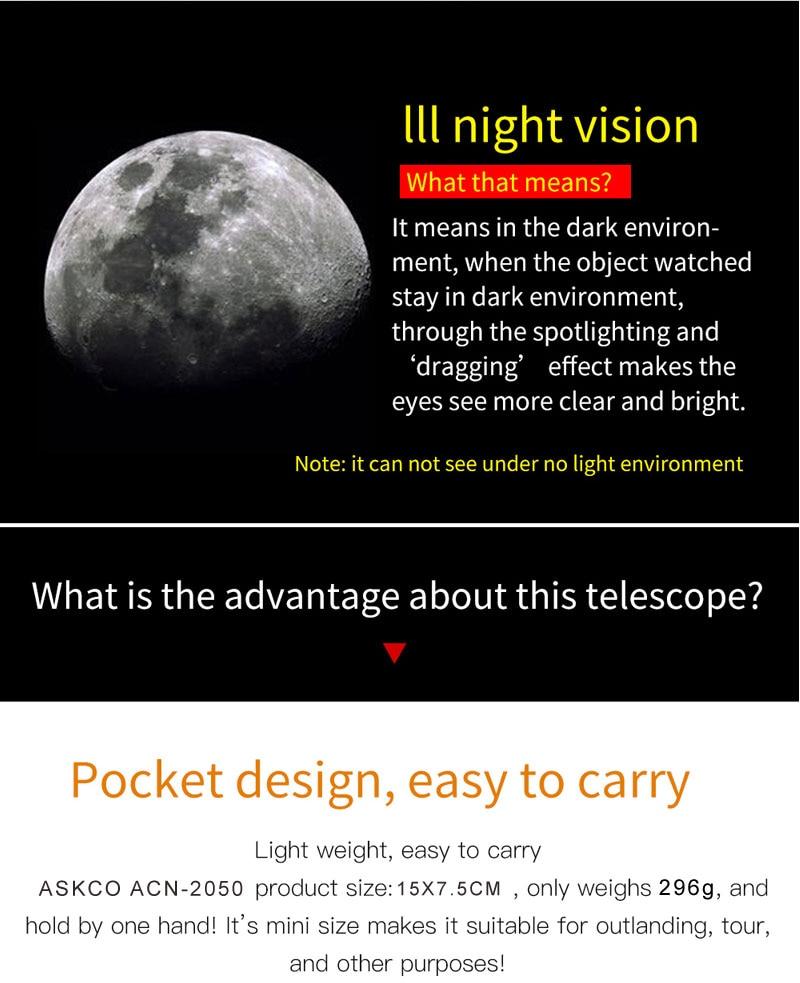 Monocular 20x50 binóculos poderosos zoom de alta