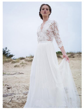 SoDigne 3/4 Sleeves Wedding Dress 2019 Lace Top Bridal Gown Appliques Dresses White/ivory Romantic Gowns
