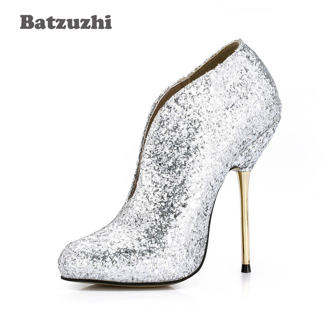 6a7c61c0481a Batzuzhi-12.4cm Sexy High Heel Women Ankle Boots Pointed Toe Glitter Silver  Women Short Boots Iron Heels Sexy Fur Inside Winter