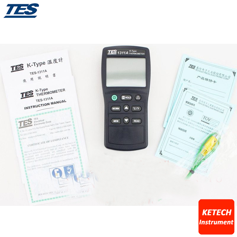 Digital Industrial K Type Thermocouple Thermometer Temperature TES1311A цена и фото