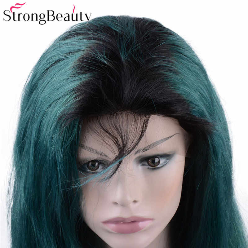 Strongbeauty Long Green Lace Front Wigs Synthetic Kinky Straight Ombre Seagreen Heat Resistant Synthetic Wig With Dark Roots