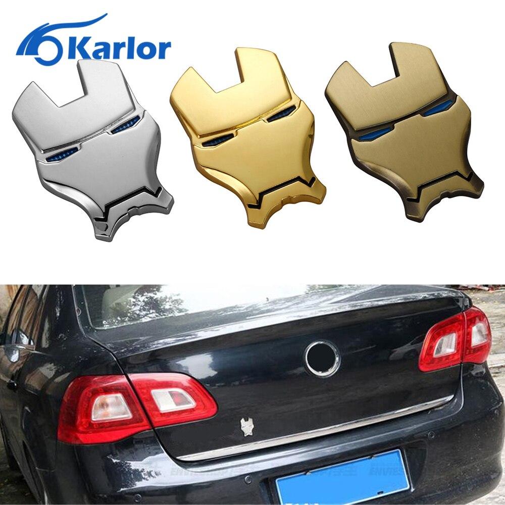 Design car emblem - 3d Chrome Metal Iron Man Car Emblem Stickers Logo Decoration The Avengers Car Styling Decals Exterior