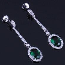 Precious Green Cubic Zirconia White CZ 925 Sterling Silver Drop Dangle Earrings For Women V0691