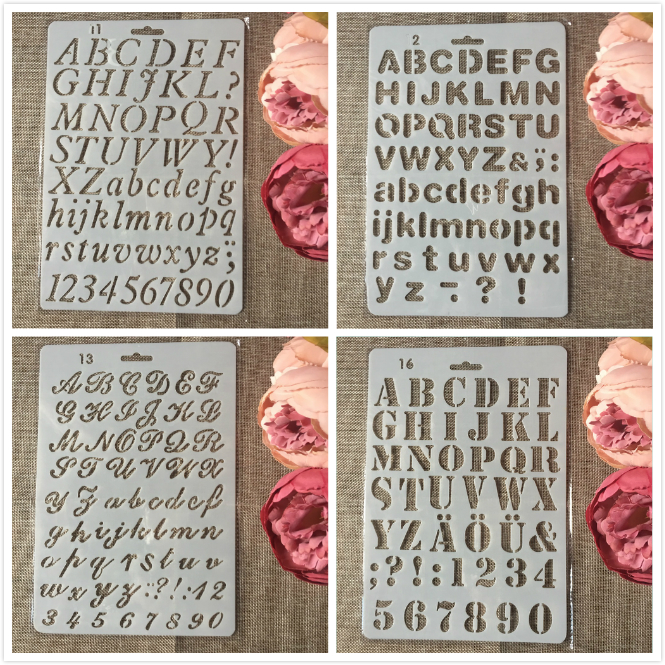 4Pcs/Lot 27cm Alphabet English Letters DIY Craft Layering Stencils Painting Scrapbooking Stamping Embossing Album Paper Template