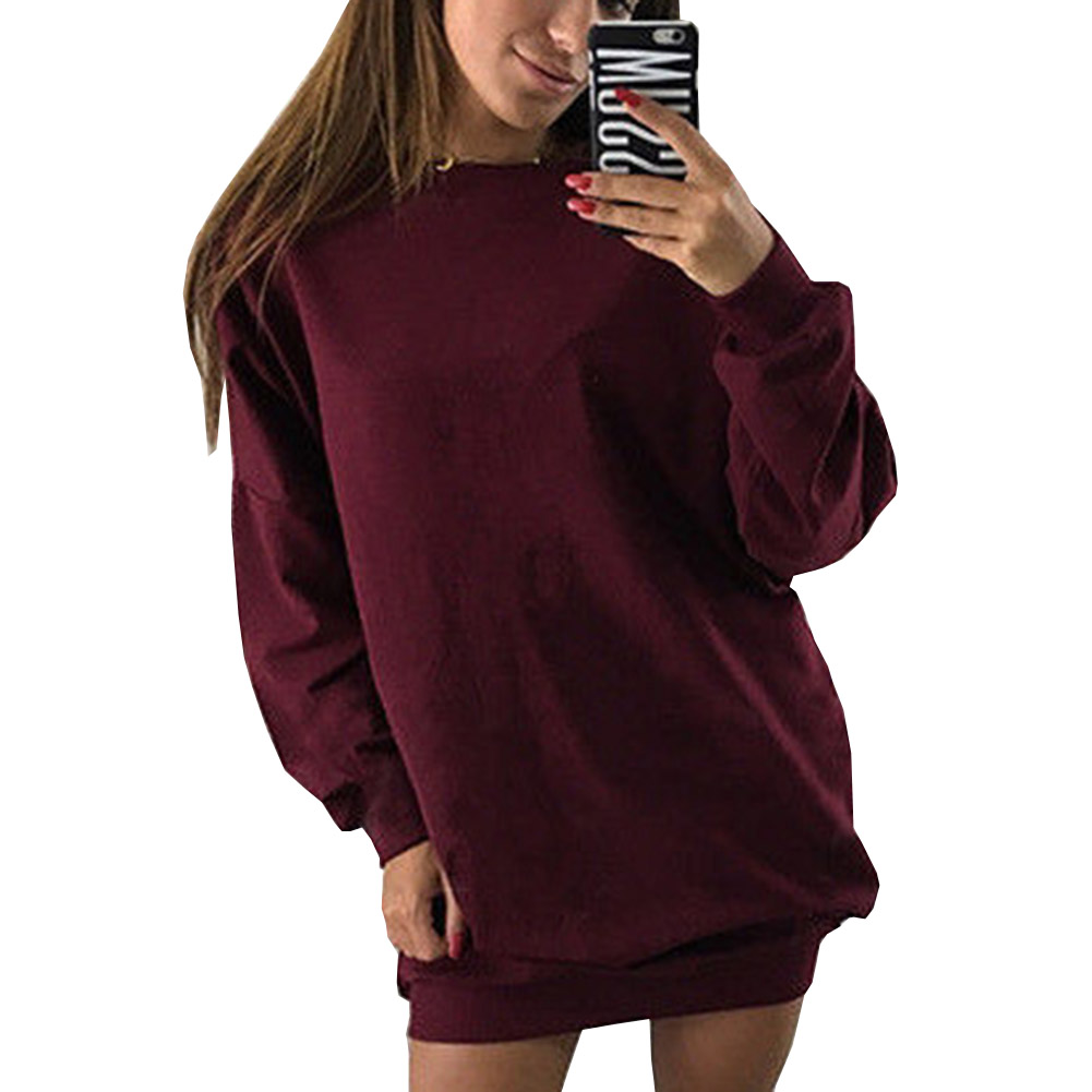 NEW 2018 Women Crew Neck Long Batwing Sleeve Knitted Winter Warm Pullover Long Sweater Dress Party Vestido Pull Jumper Plus Size
