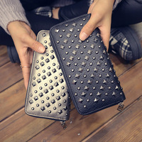 DALFR PU Leather Women's Wallet Zipper Card Holders Purses and Long Wallets Black European and American Style Bag for Women