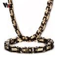 Vnox collar y pulsera de cadena de sistemas de la joyería de acero inoxidable 316l de los hombres punk heavy metal