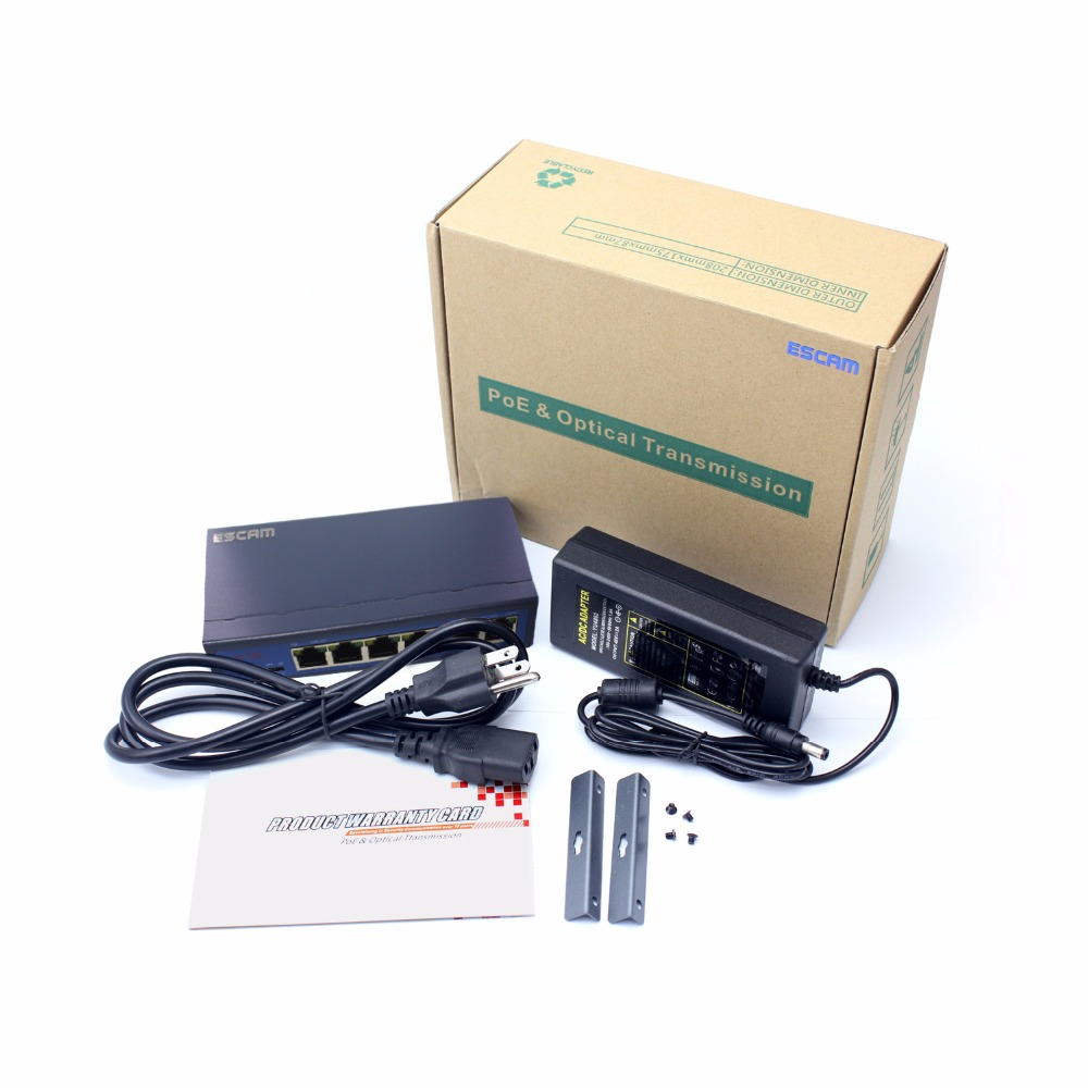 Full New ESCAM 4CH POE Switch 10/100M 150m Distance 85W DC&2 Lan Port for IP Camera CCTV System NVR POE Power Supply Adapter cctv 4 port 10 100m poe net switch hub power over ethernet poe