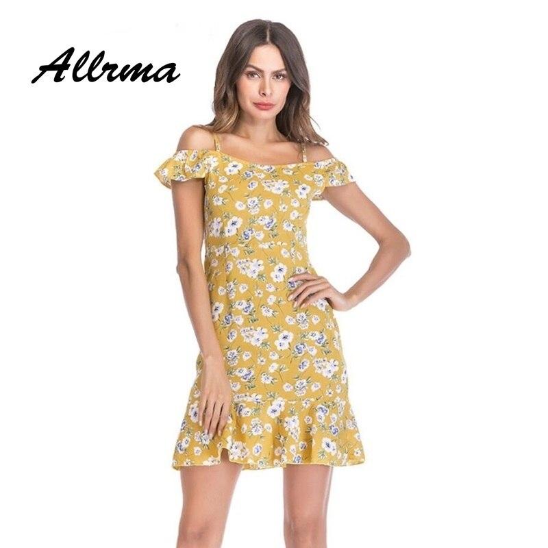 16f6dfdcc92b Allrma Off shoulder print ruffle dress women casual streetwear dress Loose  short summer spaghetti strap dress Vestidos 2018