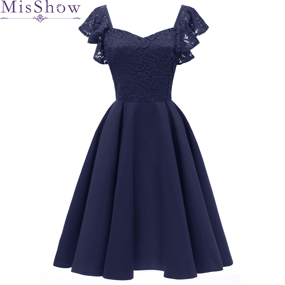 Navy Blue V-Neck   Cocktail     Dresses   2019 Elegant Backless Lace A-Line Summer Women Vestidos Sexy Women   Cocktail     Dresses