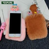 YESPURE Fantezi Maymun Fox Telefon Kapak Iphone 7 için Lüks Kızlar Coque Çapa artı Antişok Kürk Telefon Kılıfları Aksesuarları