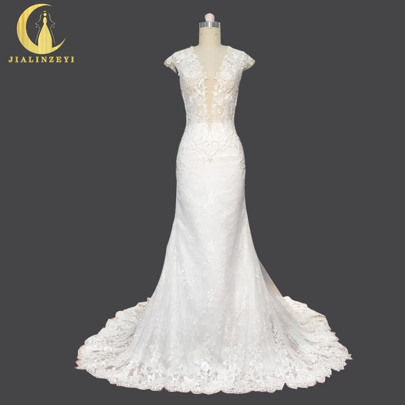 Rýn skutečný vzorek krajky hluboký v krku s perlami Sexy zadní Mermaid soud vlak Svatební Svatební šaty Svatební šaty