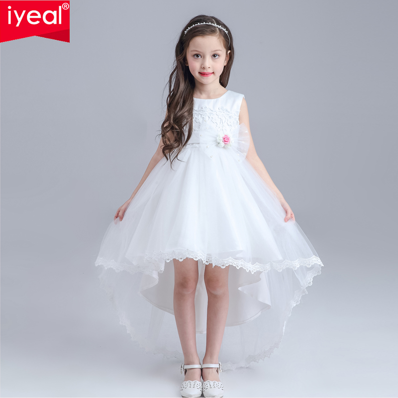 купить IYEAL Formal Lace Girl Communion Party Prom Princess Pageant Bridesmaid Wedding Flower Girl Dress with Full Length Long Train дешево