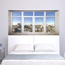 Cidade Cidade Sence Bed Head Etiqueta Falso Branco Janela de Vidro Adesivo de Parede Artes Criativas Adesivos de Parede Arte Adesivos de Parede Para Casa decoração
