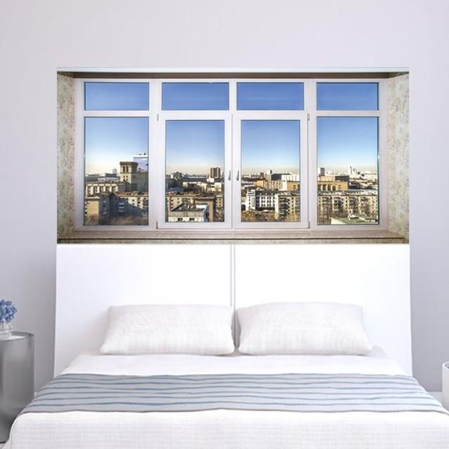 City Town Sence Bed Head Sticker Fake White Glass Window Wall Sticker Creative Arts Wall Stickers Art Wall Sticker Home Decor