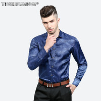 2018 Spring Autumn Shirt Men Fashion Large Body Features Embroidery Bright Pattern Men S Casual Long