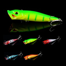 Hot Sale 1 pcs Plastic Isca Artificial Hard Poper Lures Fishing Tackle Yellow Treble Hooks Bait  3d Eyes Wobblers Lure pesca New
