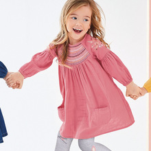 Little maven kids girls fashion brand autumn baby clothes draped dress Cotton pockets toddler girl dresses S0507