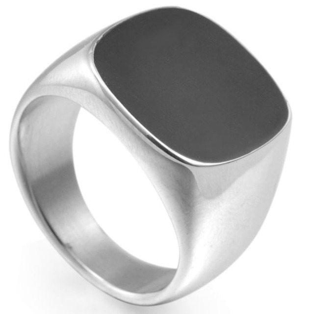 Size 5 to 16 Stainless Steel Signet Enamel Wedding Engagement Ring Cocktail Bike