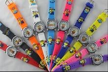 10pcs/lot Wholesale NEW Cartoon 3D despicable me 2 minion Wrist watch kids children cartoon quartz watches christmas gift