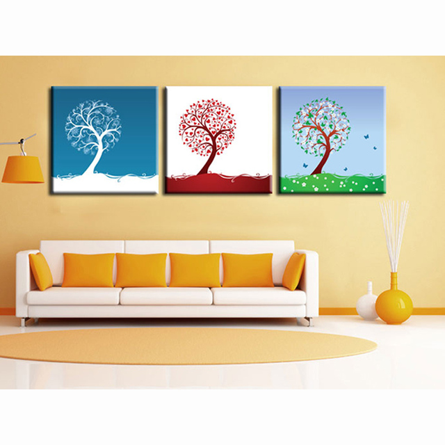 Love Tree 3 Pcs Picture Print Painting Modern Canvas Wall Art For ...