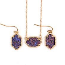hot deal buy yjx030 wholesale 6 set lot mini iridescent druzy drusy pendant necklace with matching drop earrings hot fashion jewelry sets