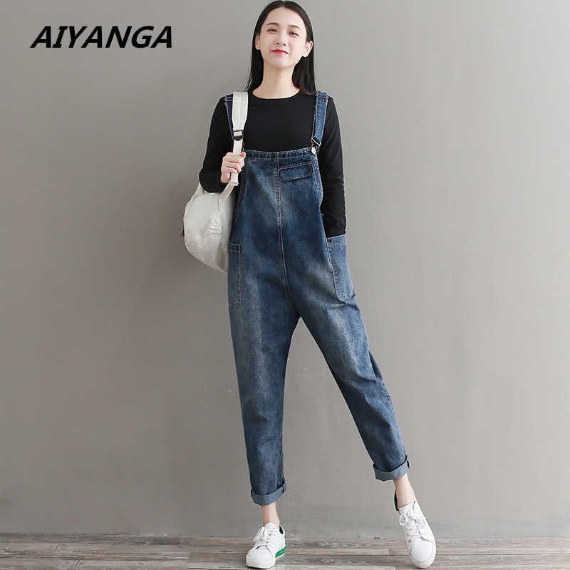 4dc5994e0dab New Women Jumpsuit Denim Overalls 2018 Spring Autumn Blue Strap Double  Pockets Full Length Denim Jeans