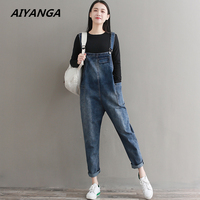 New Women Jumpsuit Denim Overalls 2018 Spring Autumn Blue Strap Double Pockets Full Length Denim Jeans