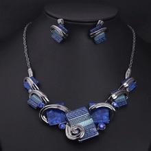 Роскошный Модный Ювелирный Набор, Кристальное массивное ожерелье, набор шариков, Синие Ювелирные наборы, серьги для женщин, без никеля, Duftgold
