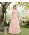 Floral Off Shoulder Coral Wedding Guest Dresses Elegant Sleeves Evening Formal  Dress vestido de festa de noite P6054