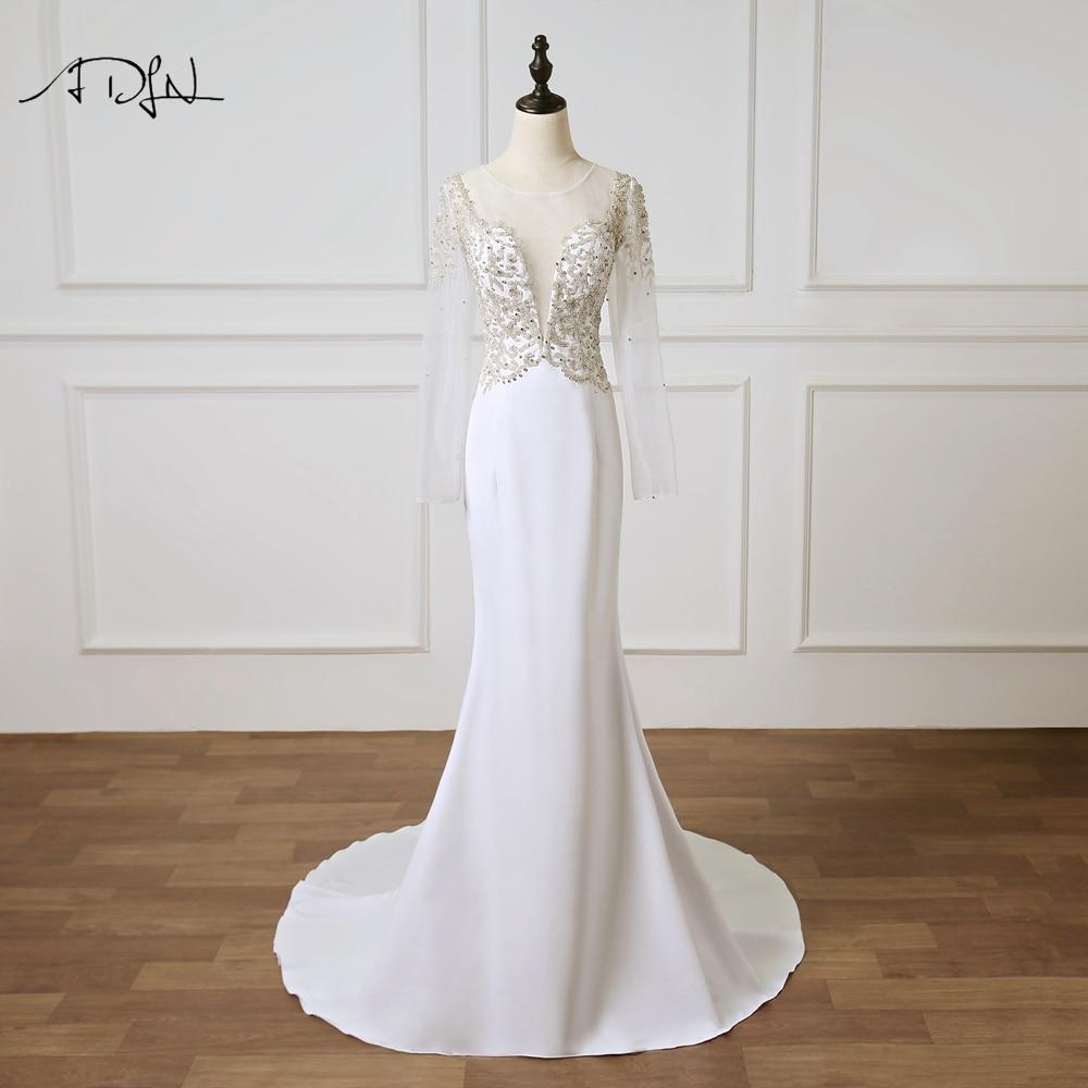ADLN Long Sleeve Wedding Dresses Turkey O neck See Through Beaded Mermaid Bridal Gown Vestidos de