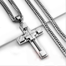 High-end cross necklace Christian Catholic religious pendant titanium steel fashion jewelry god jesus stitch