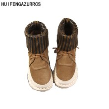 HUIFENGAZURRCS-Japanese style real leather boots two wear boots,the retro art mori girl boots,autumn nude womens shoes